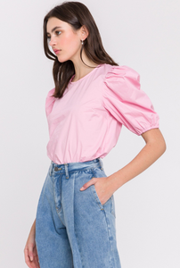 Puffed Poplin Top- Green, Blue, Pink or White