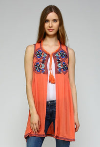 Embroidered Tassel Tie Vest