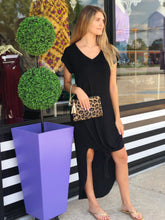 Black V-Neck Pocket Dress