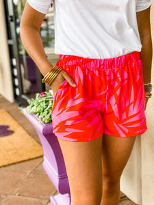 Pink & Red Leaf Print Shorts