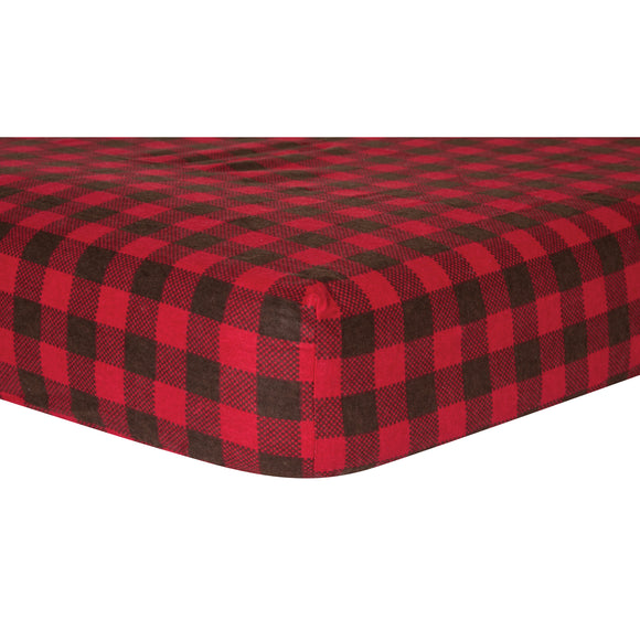 Red and Brown Buffalo Check Flannel Crib Sheet