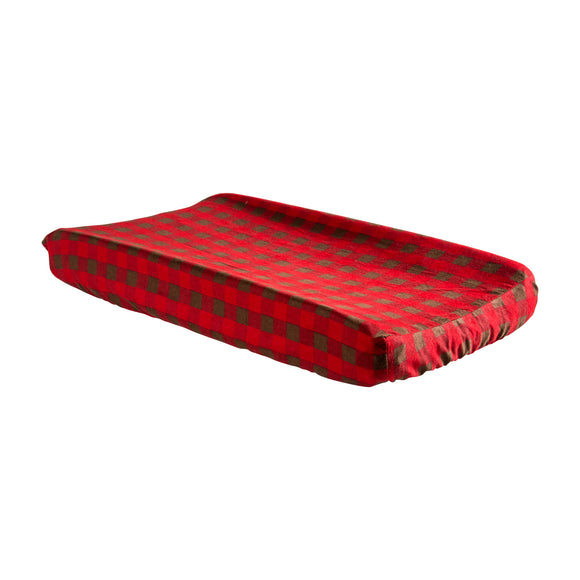 Red and Brown Buffalo Check Changing Pad Cover