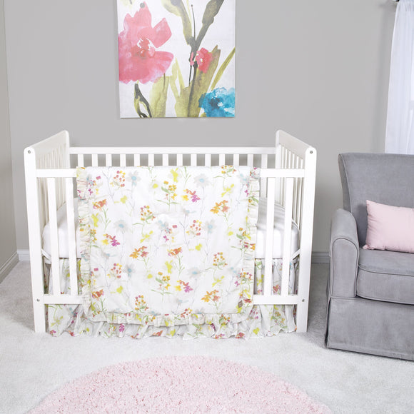 Watercolor Flowers 3 Piece Crib Bedding Set
