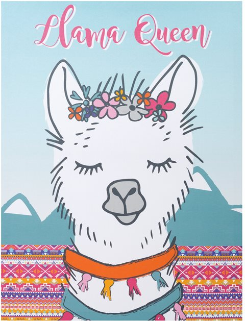 Llama Queen Kids Canvas Wall Art
