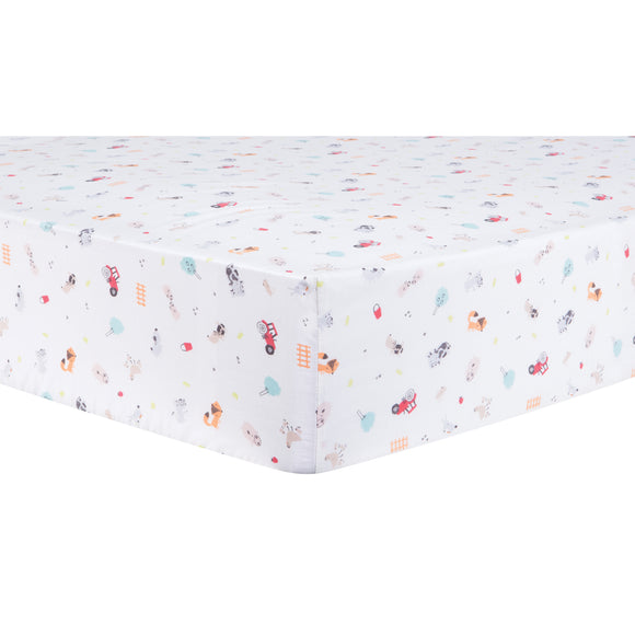 Farm Animals Fitted Crib Sheet