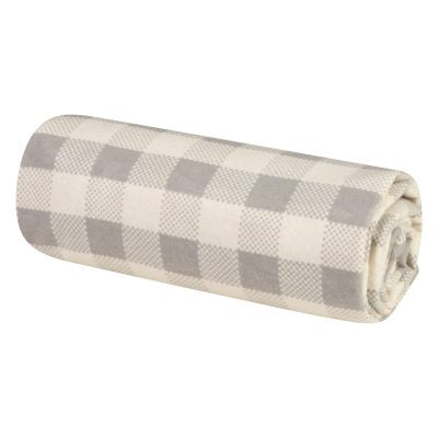 Grey and Cream Buffalo Check Jumbo Baby Swaddle Blanket