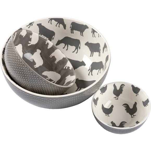 Farm Animals Bowl Set