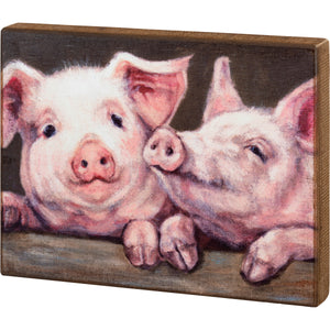 Pig Wooden Box Sign