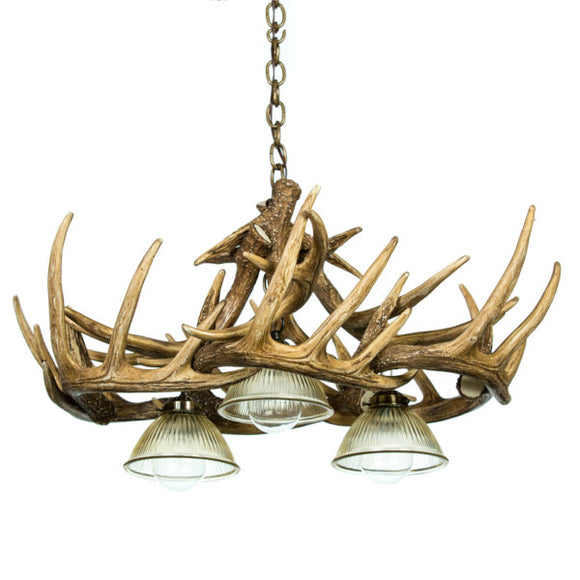 Whitetail Deer 10 Antler Chandelier with Down Lights