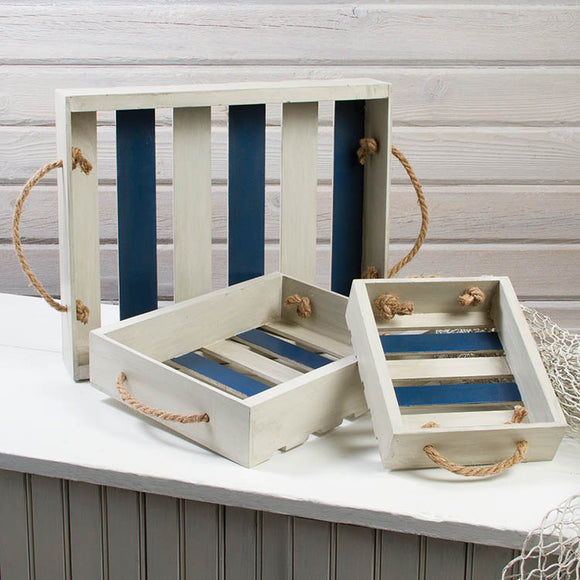Blue and White Wooden Slat Tray Set