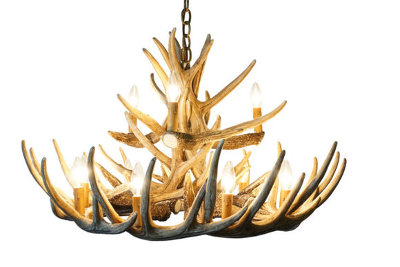 Whitetail Deer 15 Antler Chandelier
