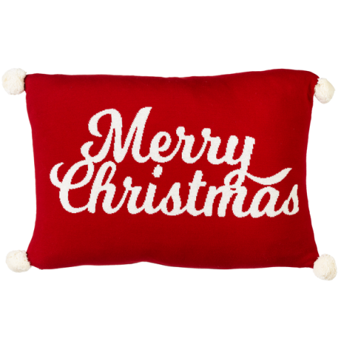 Merry Christmas Throw Pillows with Poms Poms