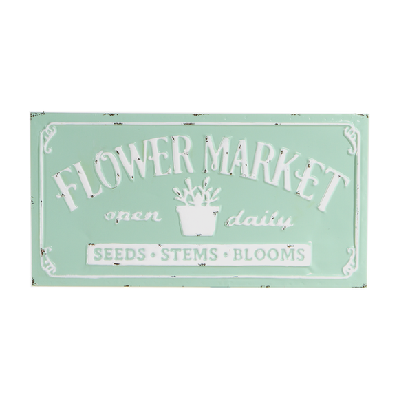 Enamel Flower Market Wall Sign