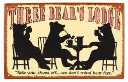 Three Bears Tin Sign