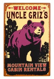 Tin Grizzly Bear Wall Sign