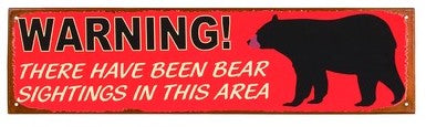 Red Metal Sign- Bear Warning