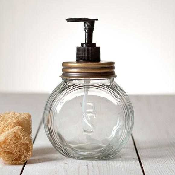 Sellers Soap Dispenser with Antique Brass Lid