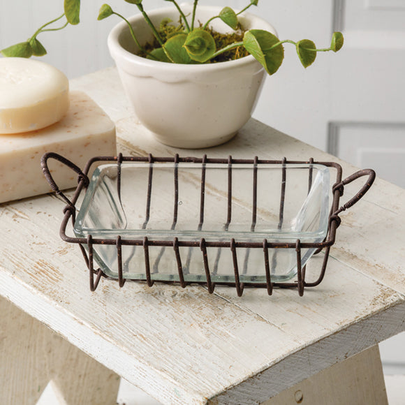 Wire Soap Dish with Glass Insert