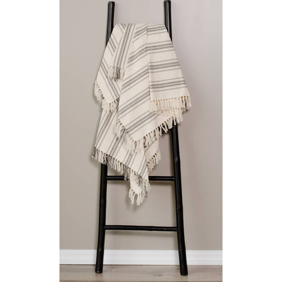 Grain Sack Cream and Pewter Stripe Afghan