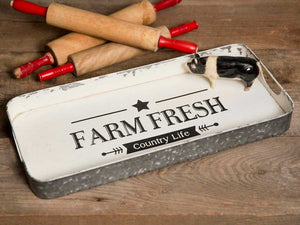 "Galvanized Metal Serving Tray With the Words ""Farm Fresh"" and ""Country Life"" imprinted on top."