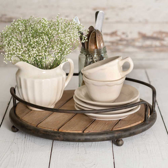 Round Wooden and Metal Serving Tray
