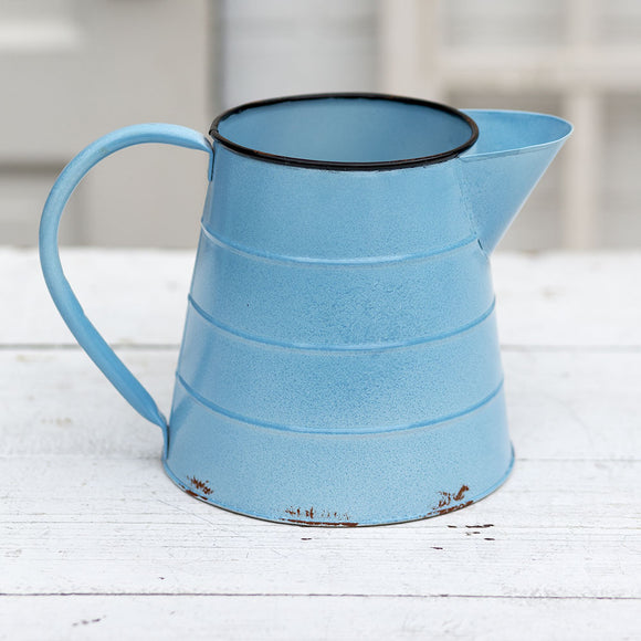 Distressed Blue Metal Pitcher