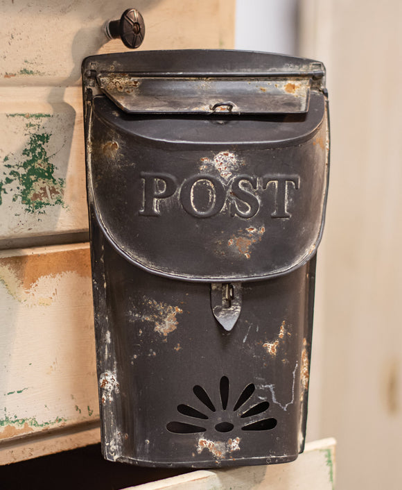 Distressed Black Post Box