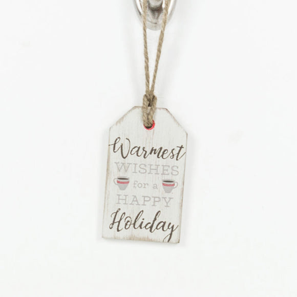White Distressed Wooden Warmest Wishes Holiday Tag