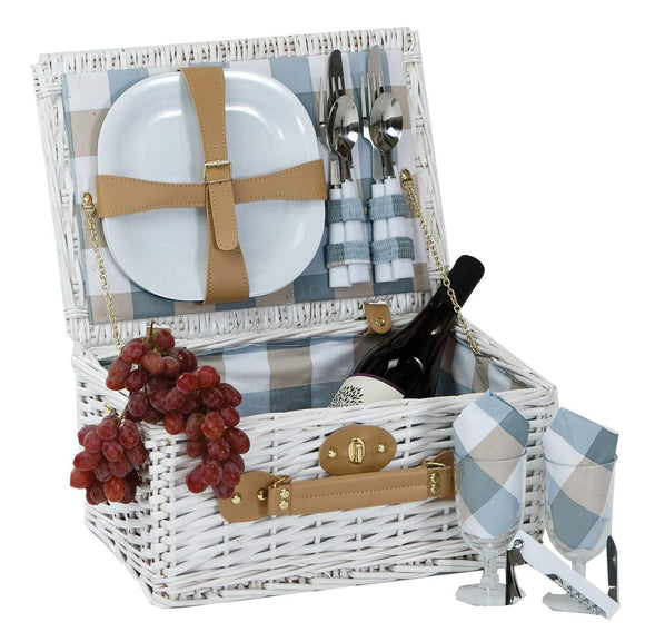 White Wicker Picnic Basket