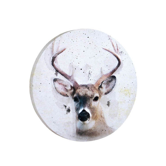 Watercolor Round Deer Canvas Art