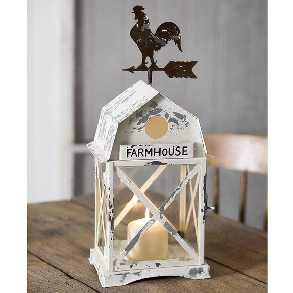 Farmhouse Distressed White Lantern