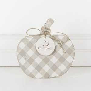 Wooden Plaid Pumpkin Small