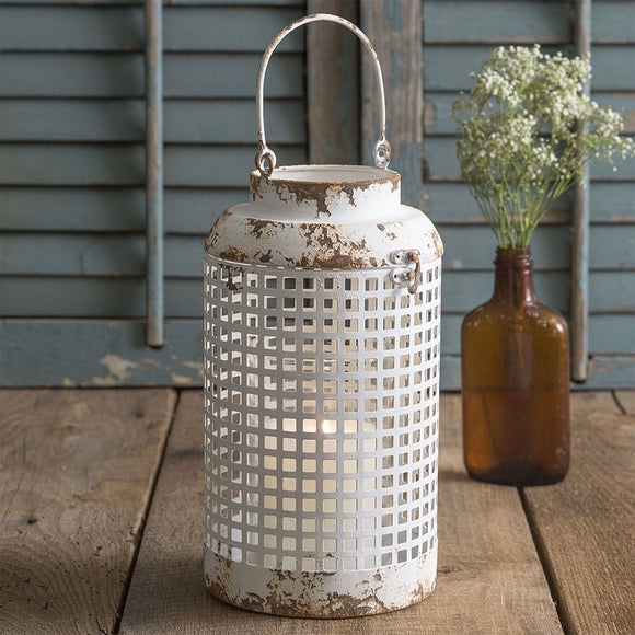 Cupertino White Distressed Lantern