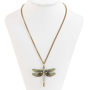 "Burnished gold and green enamel crystal adorned dragonfly pendant on a gold tone chain.  Chain is 17""long with a 3"" extender.  Pendant is 2/5"" long and 2/25"" wide."