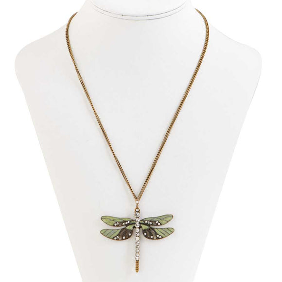 Burnished gold and green enamel crystal adorned dragonfly pendant on a gold tone chain.  Chain is 17