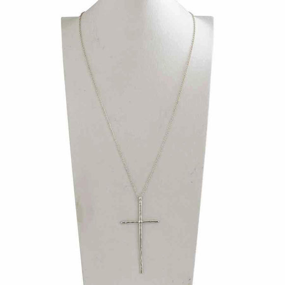 Elongated matte silver cross on a long silver chain.  Chain is 36