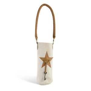 Cream Canvas Wine Bag With Leather Star and Handle Accents.