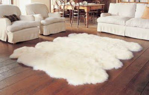 Eight Pelt Sheepskin Rug