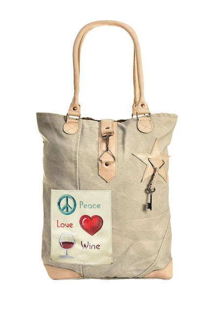 Peace, Love, Wine Tan Tote