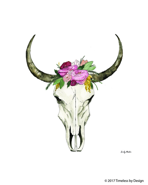 Watercolor Cow Skull Canvas Art