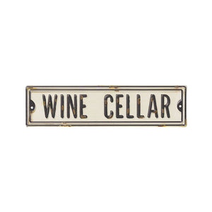 "White and Black ""Wine Cellar"" Metal Street Sign"