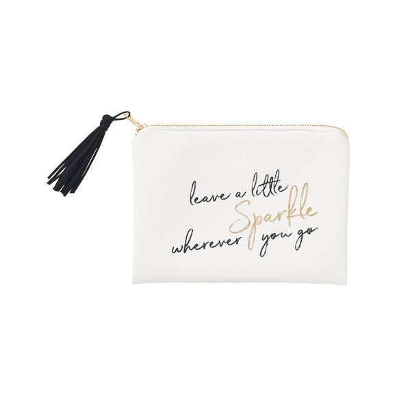 Our Sparkle Cosmetic bag has zip closure with tassel.