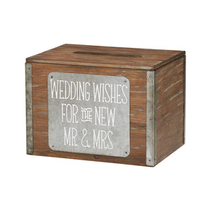 Wooden Wedding Wishes Card Box