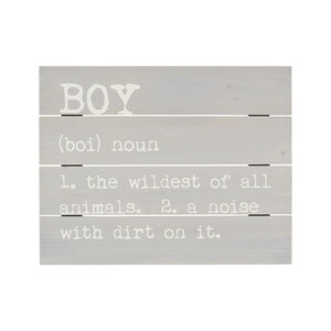 Gray Pallet Sign With Boy Definition