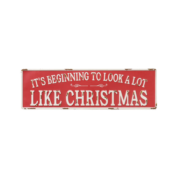 Red Metal Christmas Sign with the words