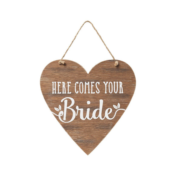 Wooden Heart Bride Sign