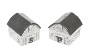 Gray and White Barn Shaped Salt and Pepper Shakers