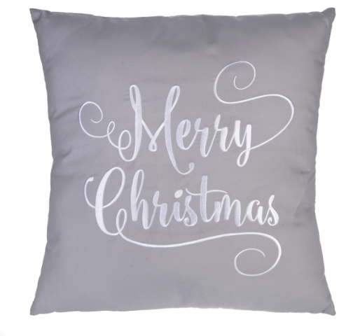 Merry Christmas Gray Scroll Throw Pillow