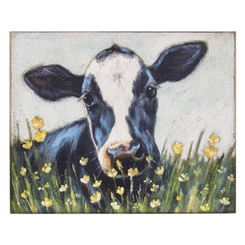 Large Wooden Black and White Cow Block Sign