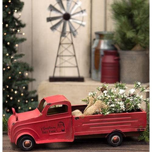 Vintage Red Metal Christmas Truck